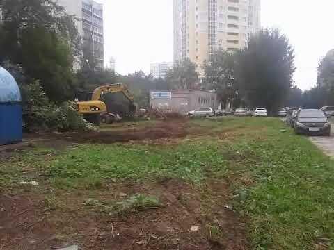 Бешеный экскаватор крушит деревья в Екатеринбурге