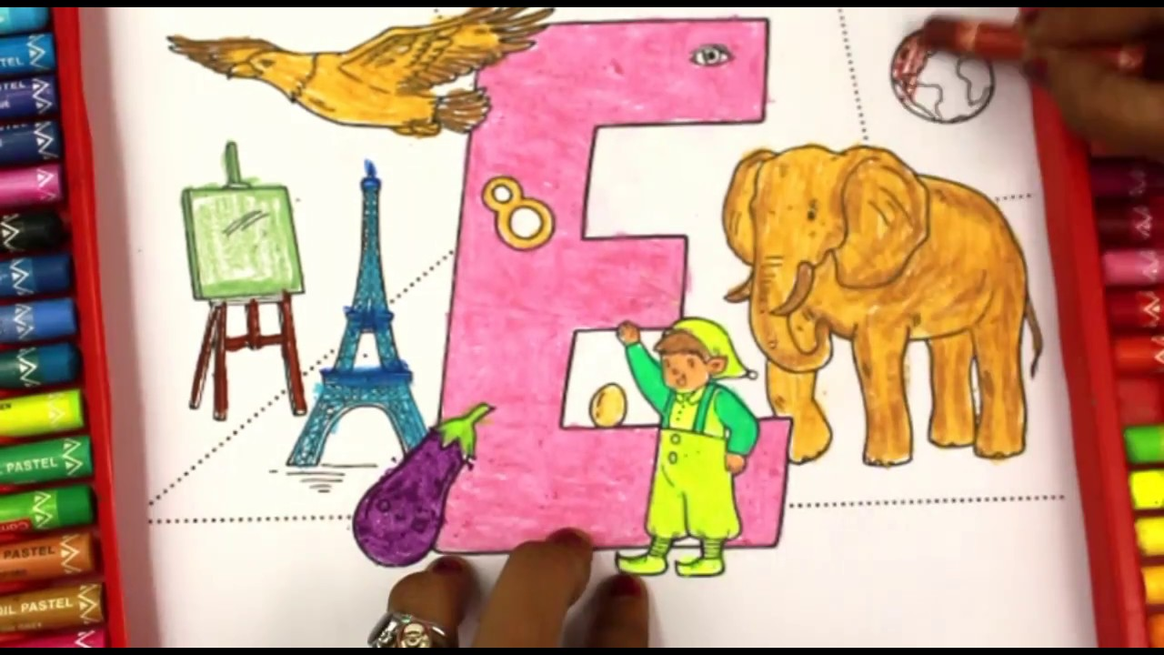Coloring and Learning Letter E|Super Simple ABCs|Alphabet for Kids ...