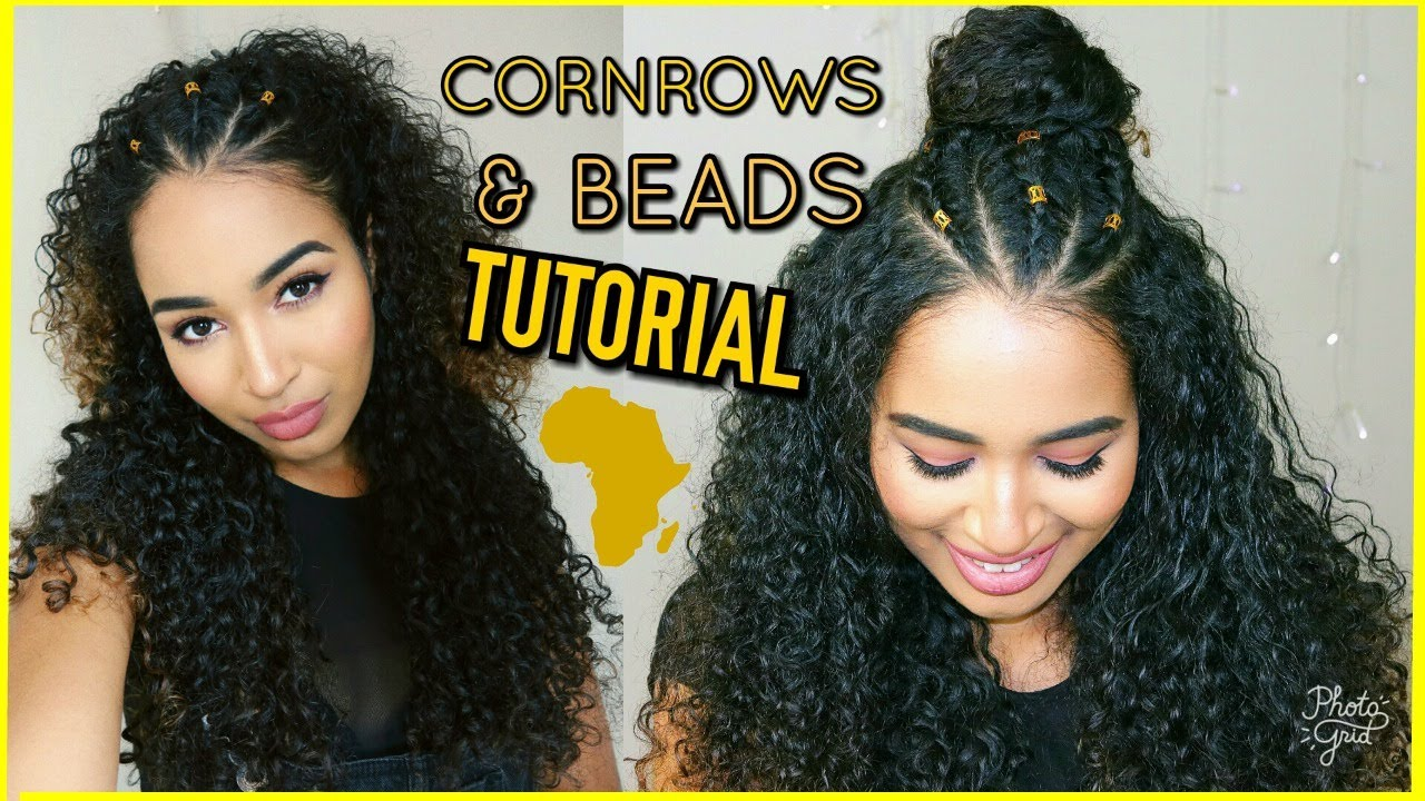 3 braids cornrows & gold beads
