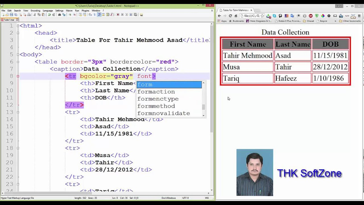 7 Lesson Of Html Table Center Tad For Tahir Mehmood Asad Youtube