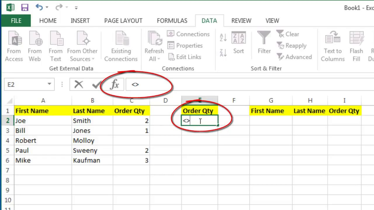 Excel Advanced Filter – Criteria to Show Blank Cells