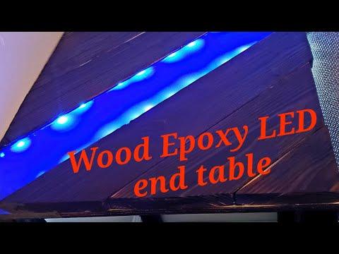Wood Epoxy LED end table