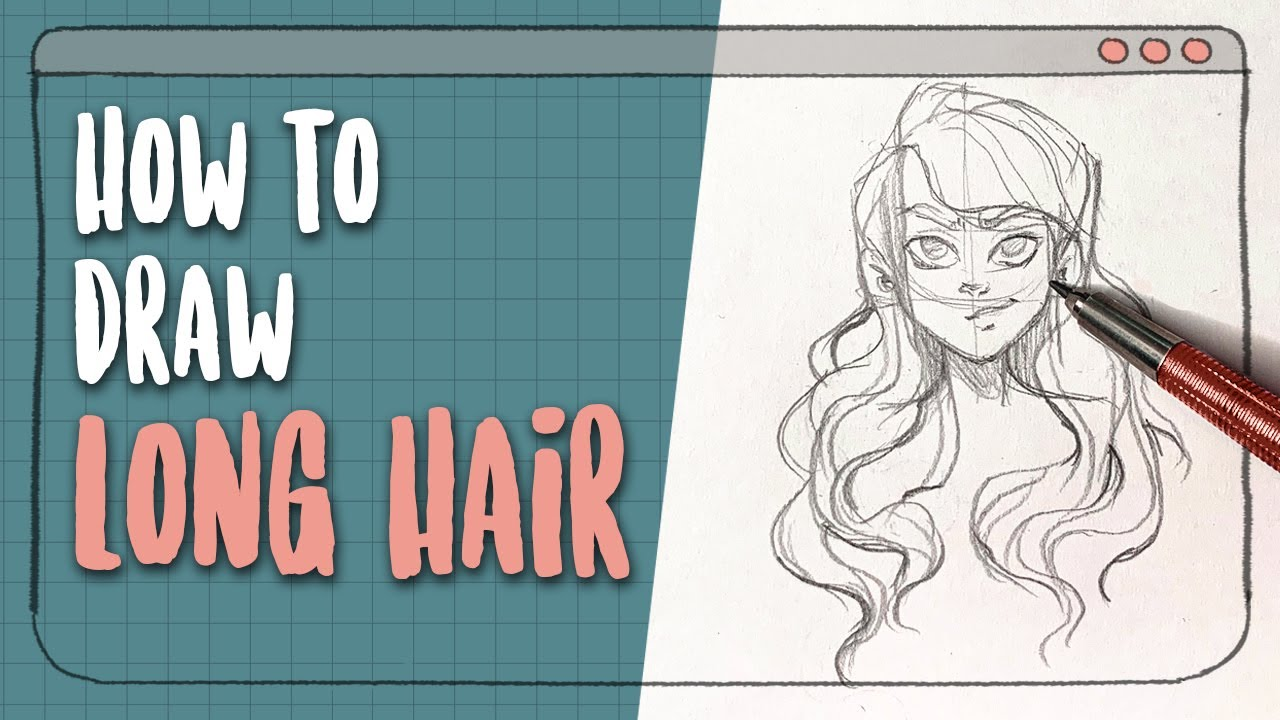 How I draw Long Wavy Hair || 60s Tutorial + Time Lapse || #akitutorials