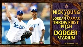 Lakers Nick Young And Jordan Farmar Throw Out First Pitch At Dodgers Game