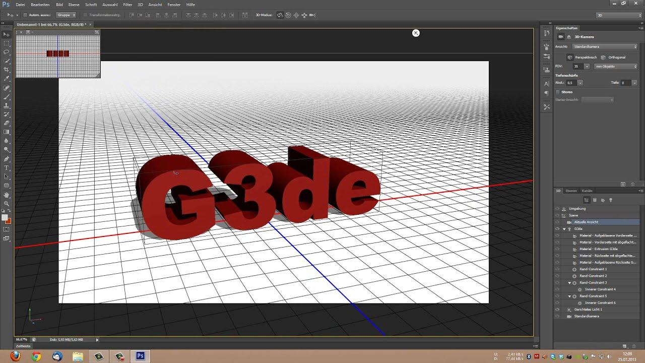 3d Text Erstellen Adobe Photoshop Youtube