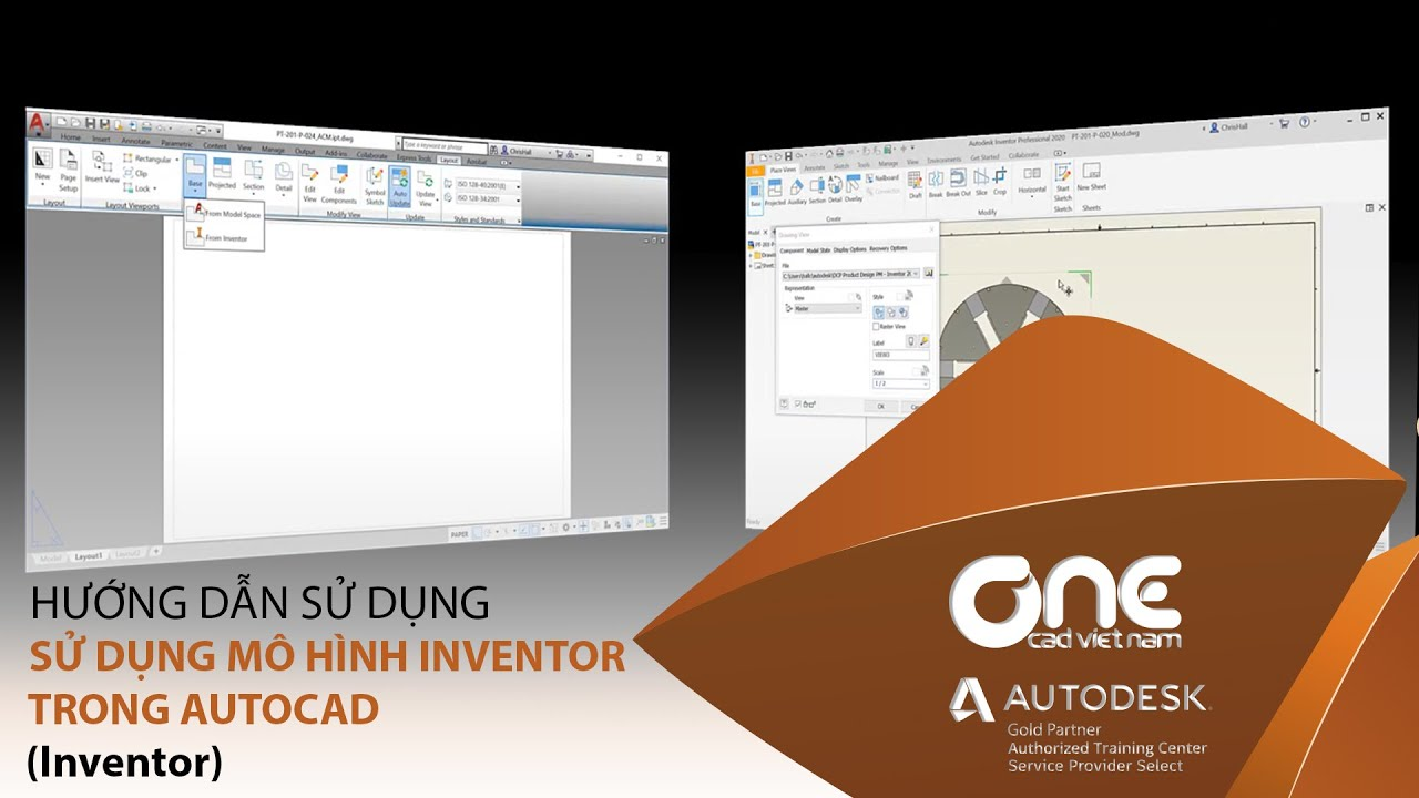 2D-3D | Sử dụng mô hình Inventor trong AutoCAD