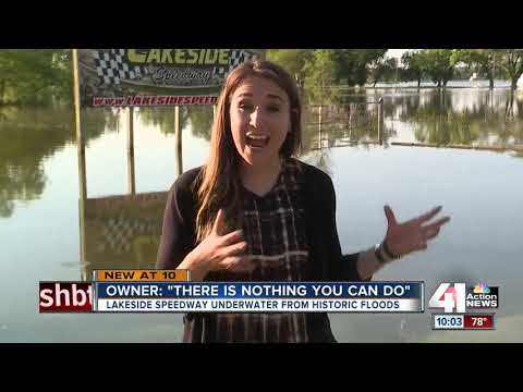 Lakeside Speedway underwater from historic floods