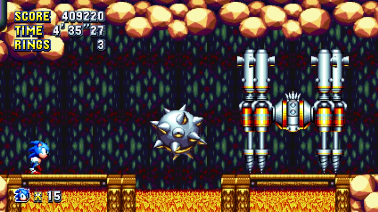 Sonic Mania - Lava Reef Zone Act 1 Boss (No Damage)