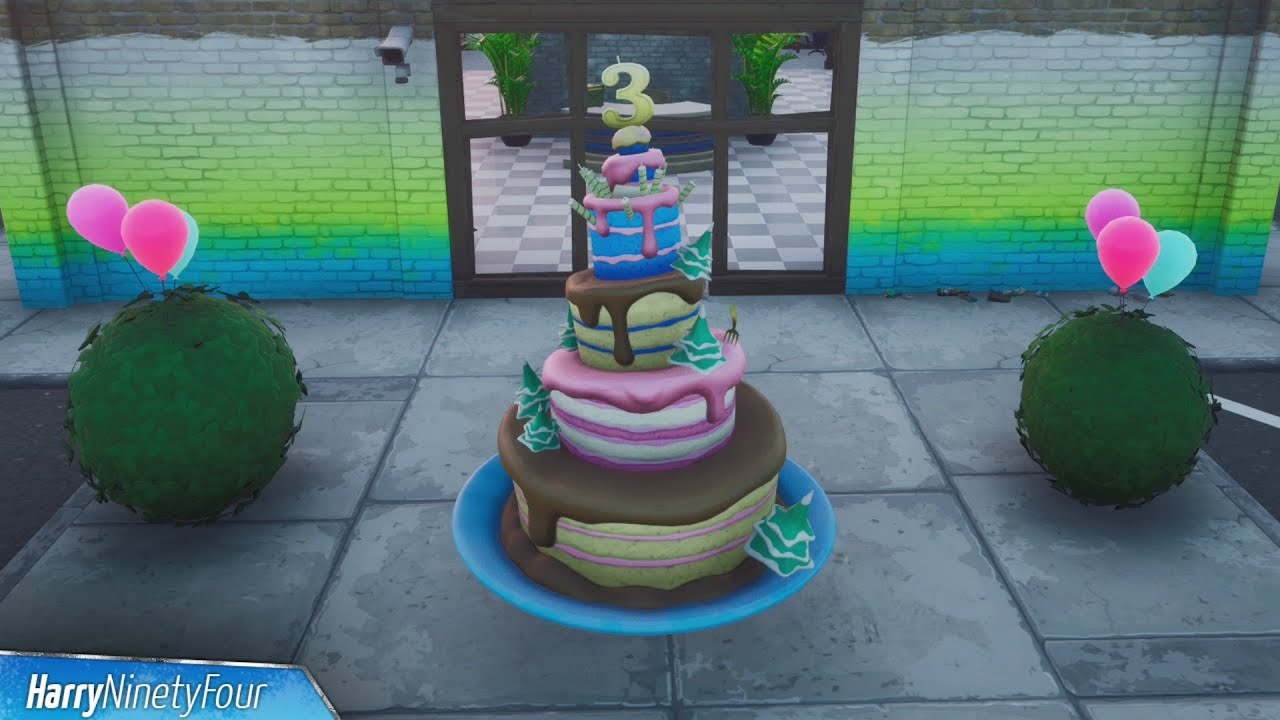 All Birthday Cake Locations Fortnite 3rd Birthday Challenges 2020 Youtube