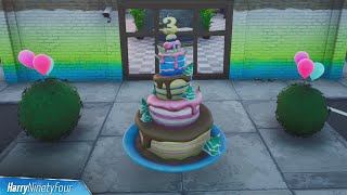 All Different Birthday Cakes Fortnite All Birthday Cake Locations Fortnite 3rd Birthday Challenges 2020 Youtube