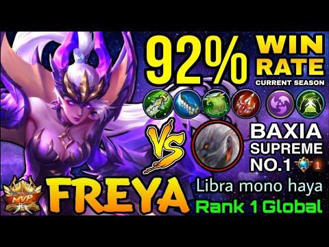 92% Win Rate S16 Freya VS Supreme No.1 Baxia - Top 1 Global Freya By Libra Mono Haya - MLBB