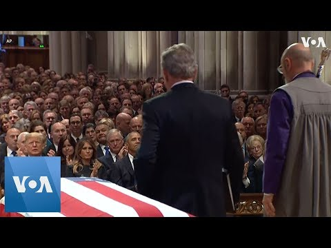 Former President George W. Bush Chokes Up During Eulogy for His Father