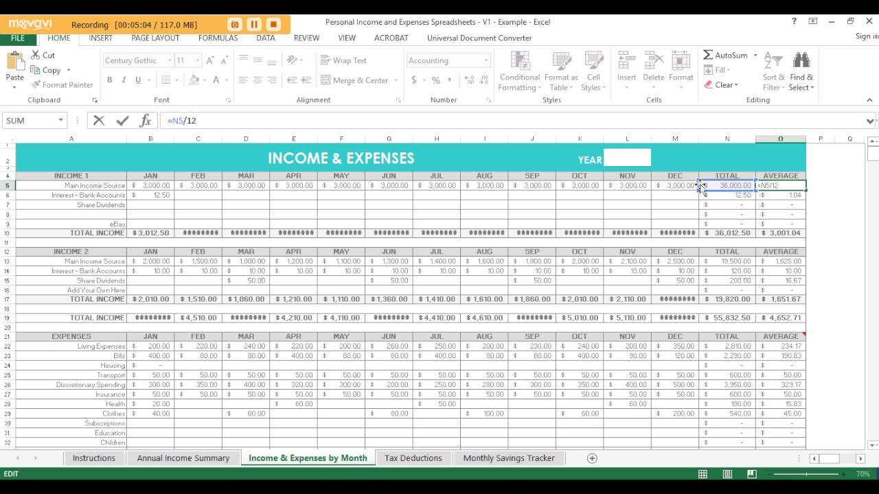 Using Excel Spreadsheets To Track Income Expenses Tax Deductions And Savings
