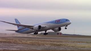 A tui boeing 787-9 dreamliner takes off from gander international airport ( cyqx ) after medical emergency the day before for what reports say woman went...