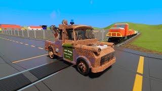 MASSIVE LEGO Cars Tow Mater, Trucks, Vans vs. Train - Brick Rigs Gameplay - Lego Toy Destruction