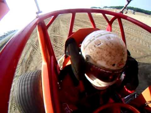 Mike Linder Sprint Car In-Car Cam Footage Attica Raceway Park