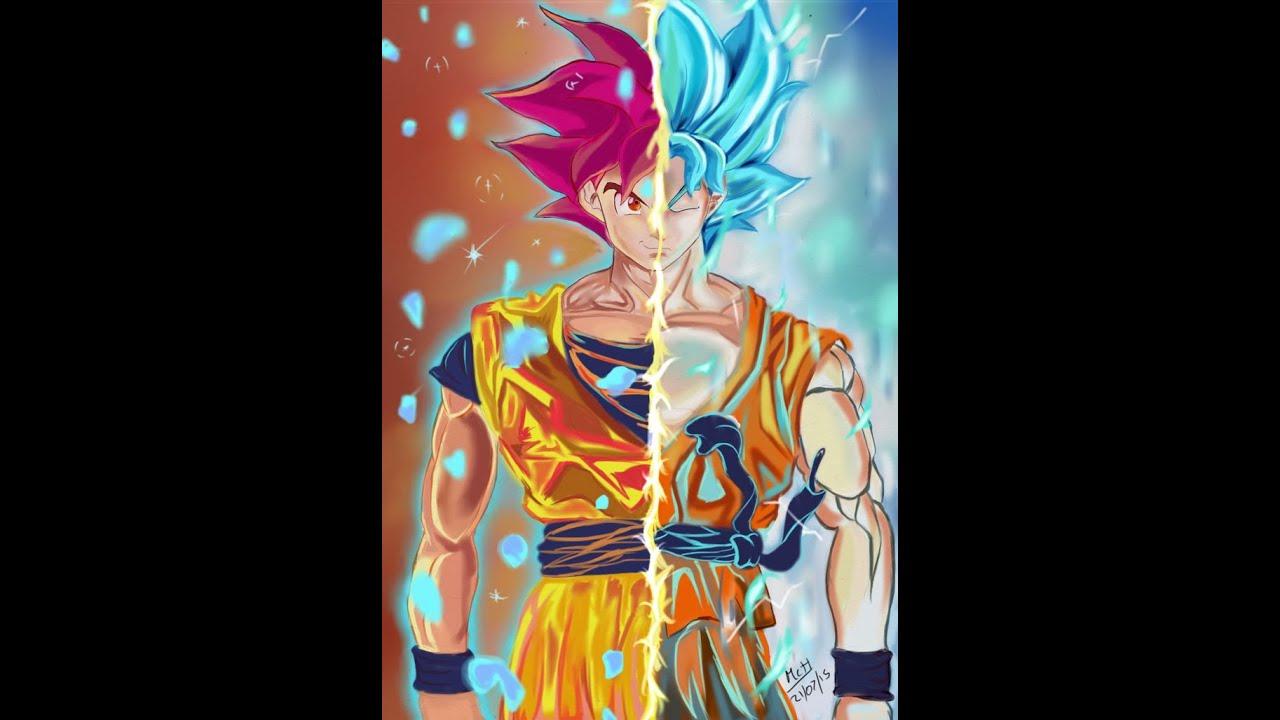 Goku Ssj Dios Para Fondo De Pantalla: SSJ DIOS ROJO VS SSJ DIOS AZUL - YouTube