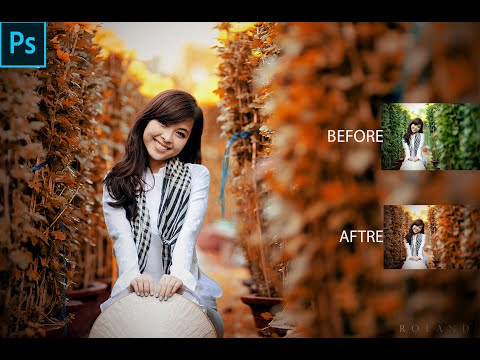 Autumn color effect  Photoshop tutorial  Soft light look Cinematic Movie Color Effect   Photoshop cc thumbnail