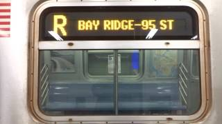 NYC Subway Late Night: R160 (R) Exterior Destination Sign To Bay Ridge-95th St (From Whitehall St)