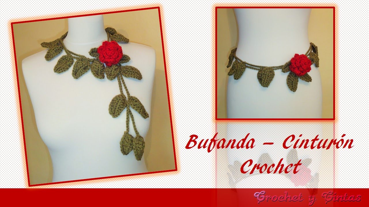 Bufanda – Cinturón con rosa tejida a crochet ganchillo - YouTube