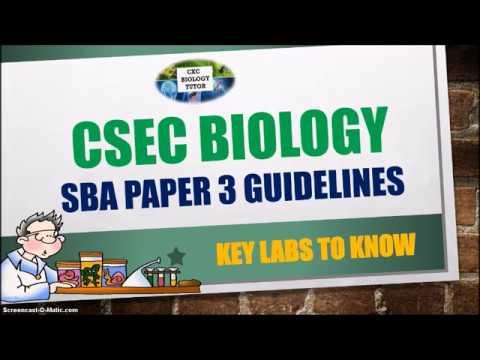CSEC Biology SBA Paper 3 Guidelines