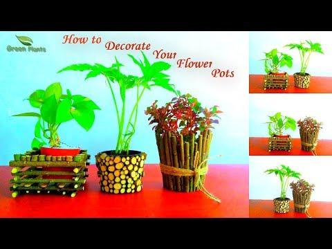 How to Decorate Your Small Flower Pots | Pots Decoration Ideas | Garden DIY Ideas//GREEN PLANTS