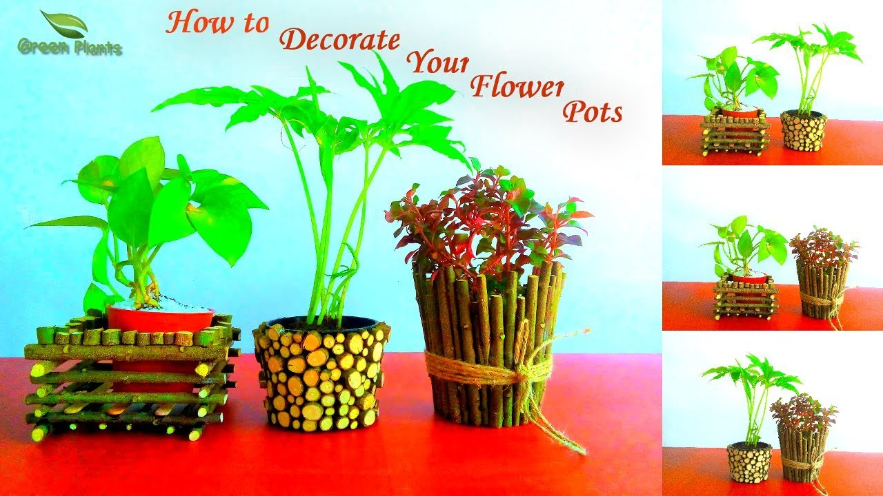 How to Decorate Your Small Flower Pots | Pots Decoration Ideas | Garden DIY Ideas//GREEN PLANTS