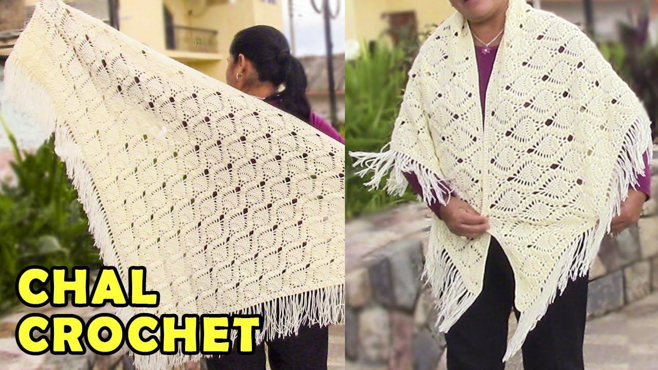 Chal triangular a crochet para damas en punto piñas paso a paso con ...