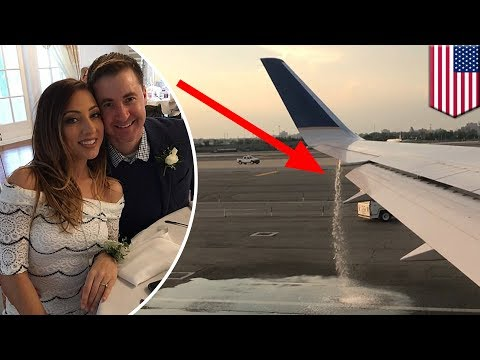 Plane trouble: honeymooners spot United Airlines plane leaking, then get left stranded - TomoNews