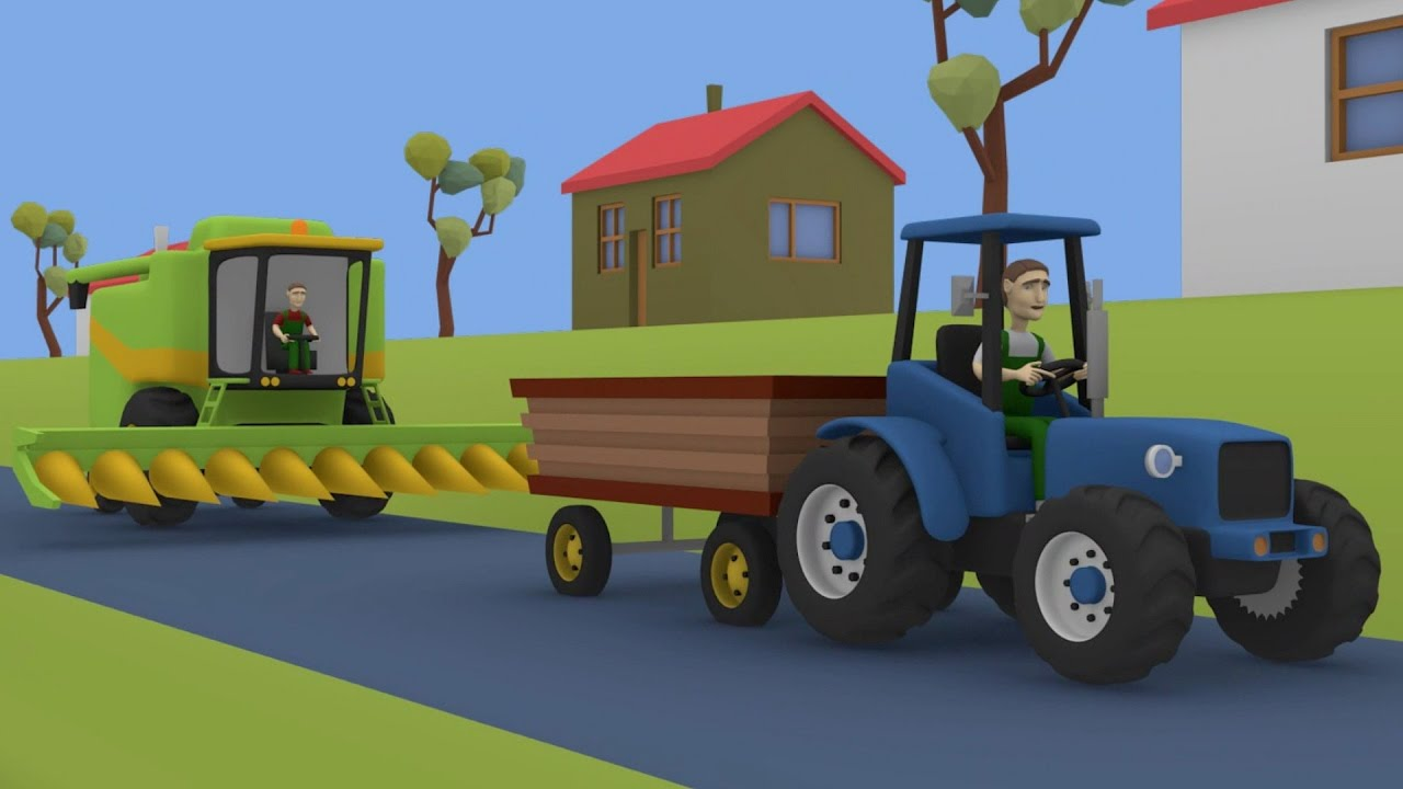 Tractor Cartoon Picker : Tractor for kids combine harvester fairy tales maize