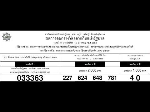 ผลสลากกินแบ่งรัฐบาล งวดประจำวันที่ 16 สิงหาคม 2558