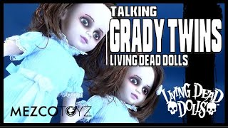 "LIVING DEAD DOLLS THE SHINNING TWINS SCARY 10/"" NEW TALKING SET MEZCO GRADY TWINS"