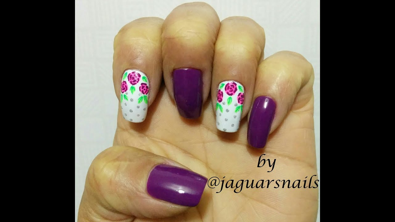 Diseño de Uñas, Rosas Vintage Fucsia Step by Step