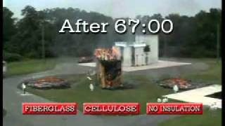 Home Insulation - Cellulose insulation versus Fiberglass - The Big Burn.wmv