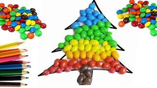 Color the Christmas Tree Candy M&M's Colored Candy for kids Finger Family Songs Nursery Rhymes