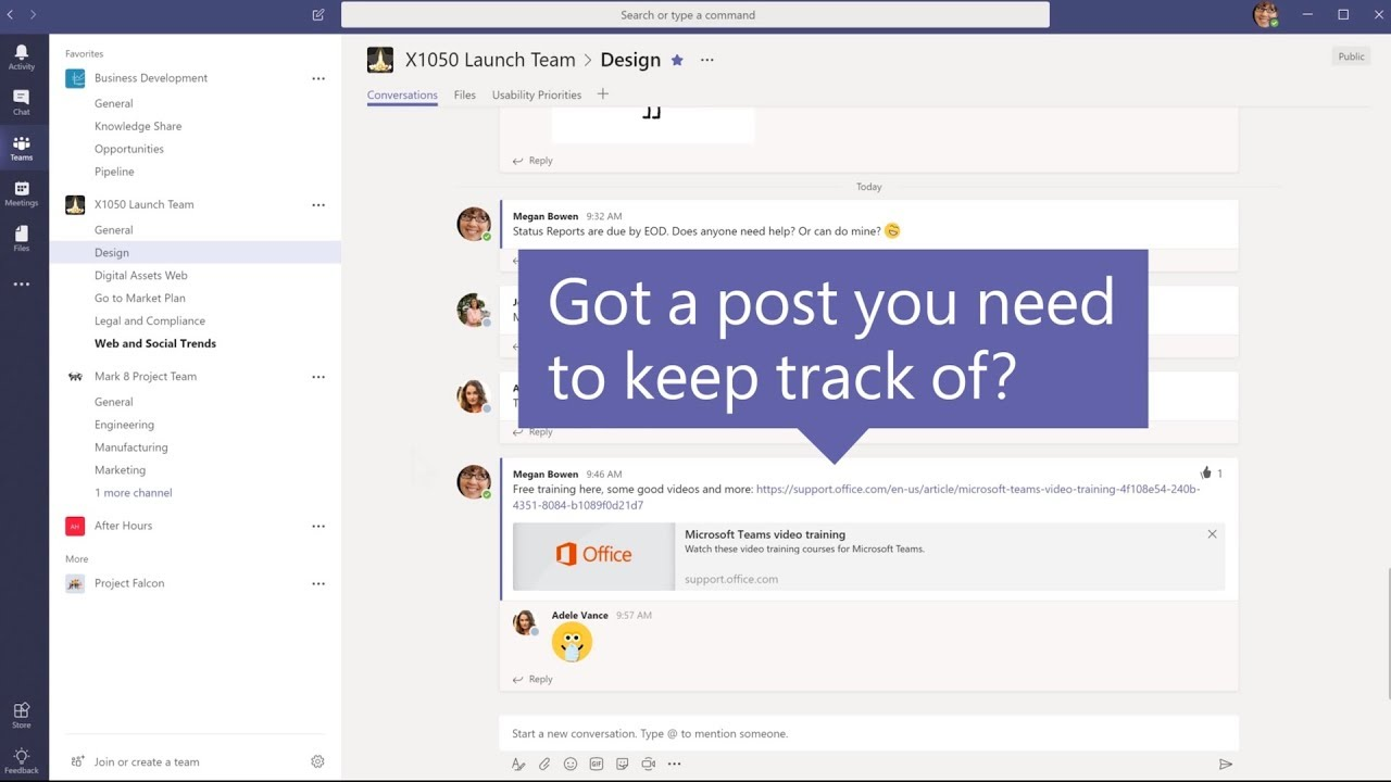 How to save a post or message in Microsoft Teams