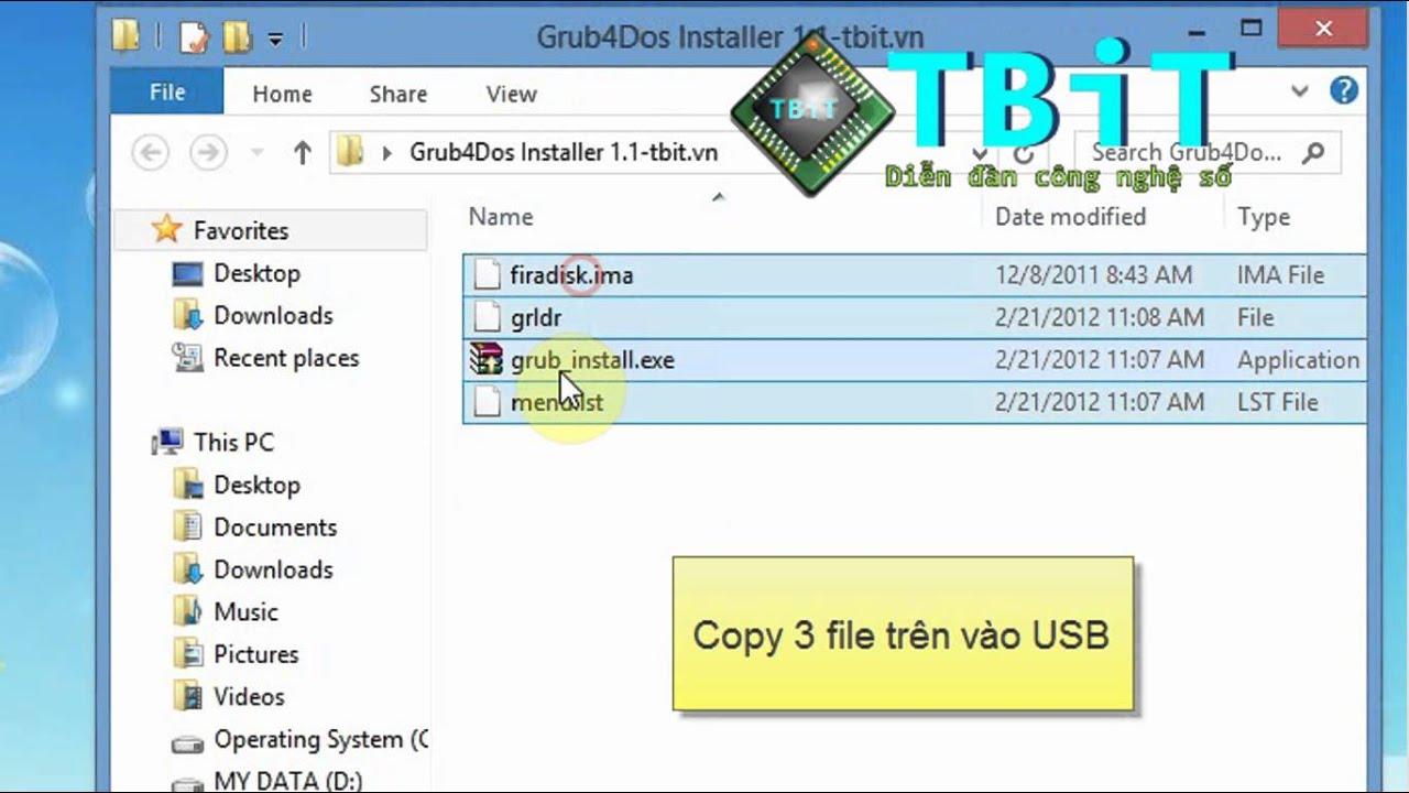 Tạo USB cài Win XP bằng Grub4Dos Installer