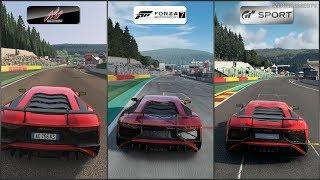 Assetto Corsa vs Forza 7 vs GT Sport - Lamborghini Aventador LP 750-4 Superveloce '15 at SPA