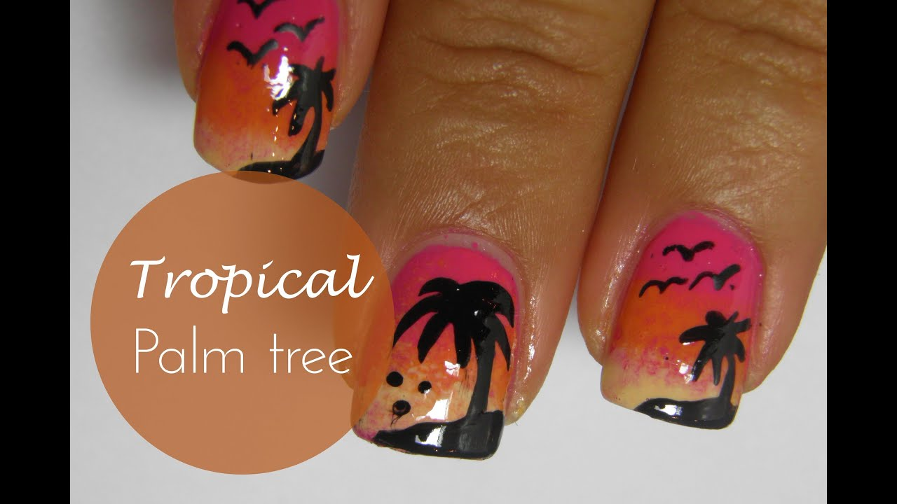 Summer tropical palm tree nail art tutorial - YouTube