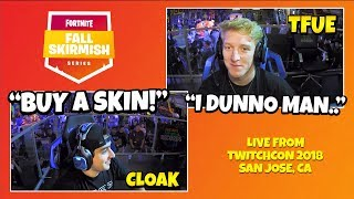FaZe Cloak Tells Tfue To BUY A SKIN At Twitchcon (Escarmouche d'automne) Fortnite Funny - Meilleurs moments
