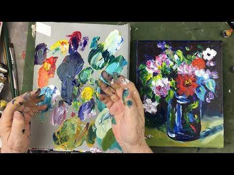 Impressionist Grown Up Finger Painting with Paul Cezanne Flowers in a Vase Using Acrylic Paint