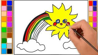 How to Draw and Color Rainbow with Sun and Clouds