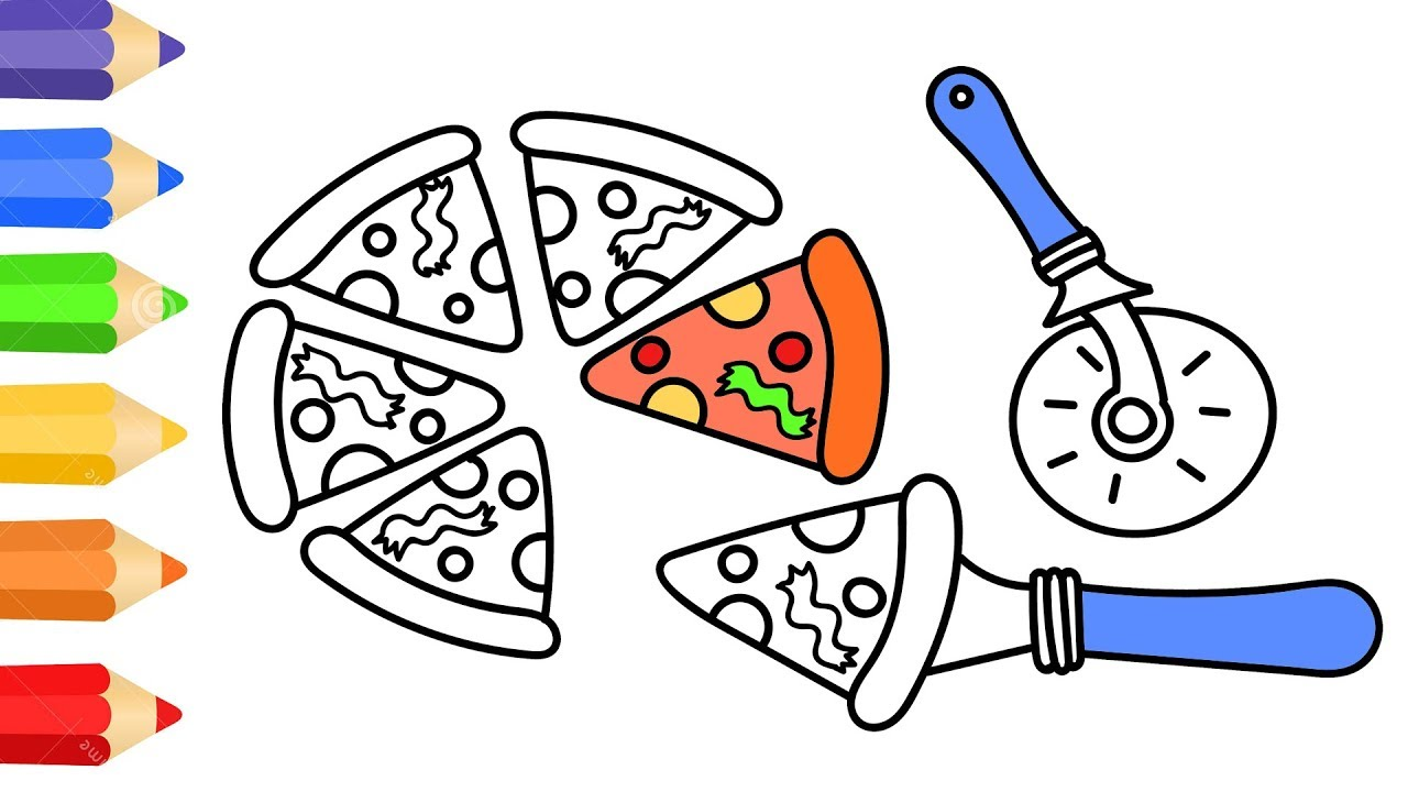 coloring page w how to draw pizza coloring book for kids learning