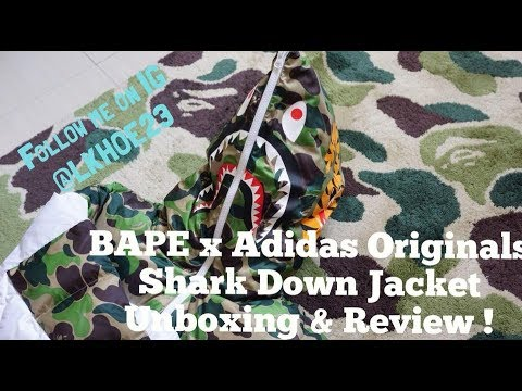 newest 79bb5 bbc69 BAPE x Adidas Originals Shark Down Jacket Hoodie ABC Camo Review! Supreme  hypebeast Tokyo haul!