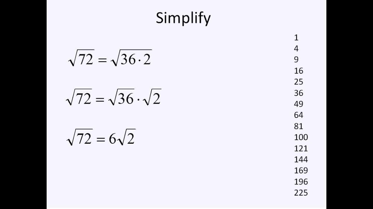 Irrational Square Roots Simplifying Math Youtube √225 = 15 shown by division method. irrational square roots simplifying math