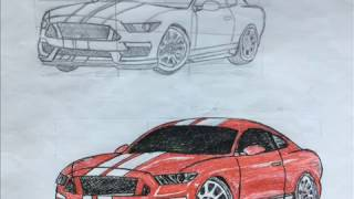 How to draw Ford Mustang Shelby GT500 car by photos