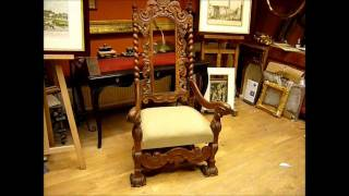Wood Carving A Crown Chair In Walnut