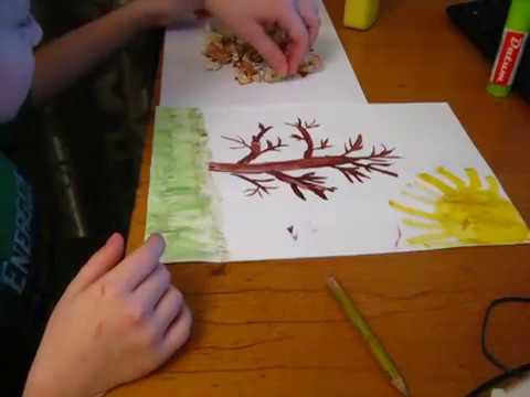 Дерево из стружки от карандашей / Поделка с ребенком Осеннее дерево