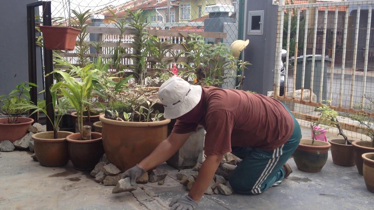 Seni Reka Landskap Membina Taman Mini Landskap Di Ruang Porch Kediaman Youtube