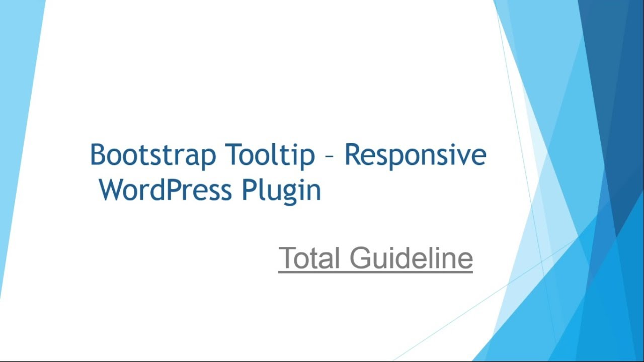Bootstrap Tooltip - Responsive WordPress Plugin